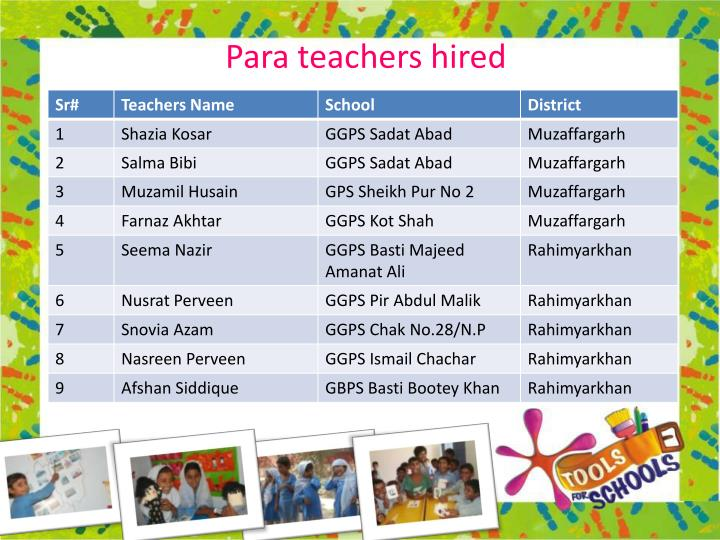 Para teachers hired