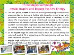 three stages campaign awake inspire and engage positive energy