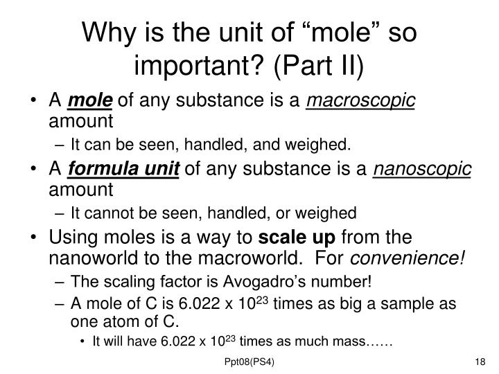 "Why is the unit of ""mole"" so important? (Part II)"