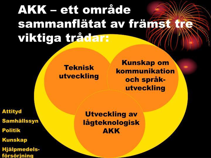 AKK – ett område sammanflätat av främst tre viktiga trådar: