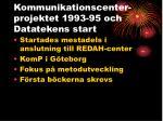 kommunikationscenter projektet 1993 95 och datatekens start