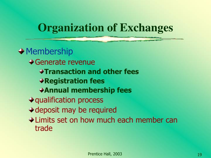 Organization of Exchanges