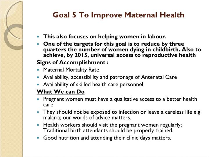 Goal 5 To Improve Maternal Health