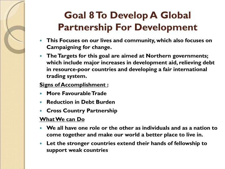 Goal 8 To Develop A Global Partnership For Development