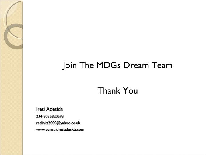 Join The MDGs Dream Team