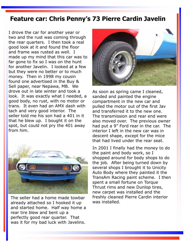 Feature car: Chris Penny's 73 Pierre Cardin Javelin