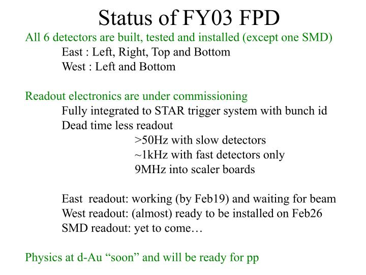 Status of FY03 FPD