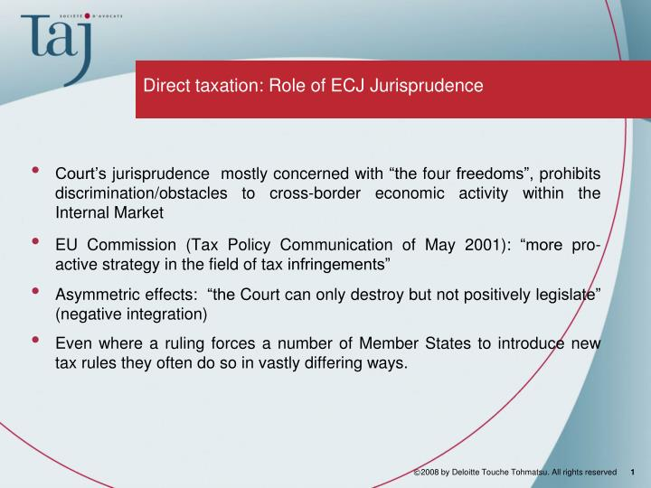 Direct taxation role of ecj jurisprudence