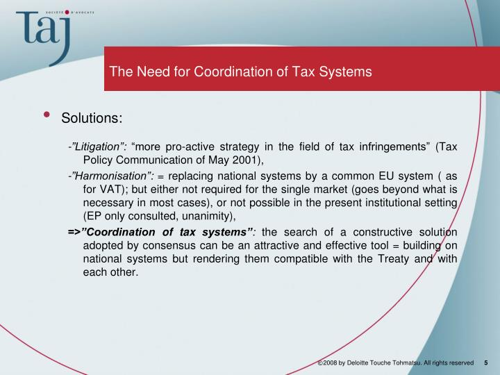 The Need for Coordination of Tax Systems