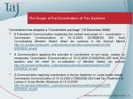 the scope of the coordination of tax systems