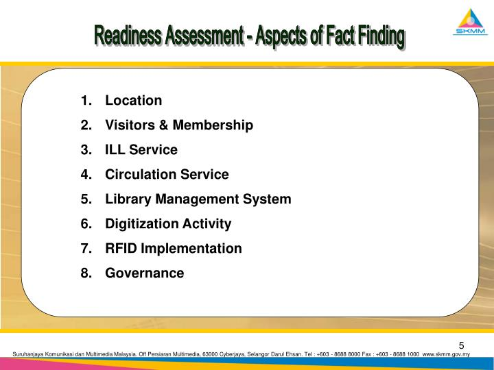 Readiness Assessment - Aspects of Fact Finding