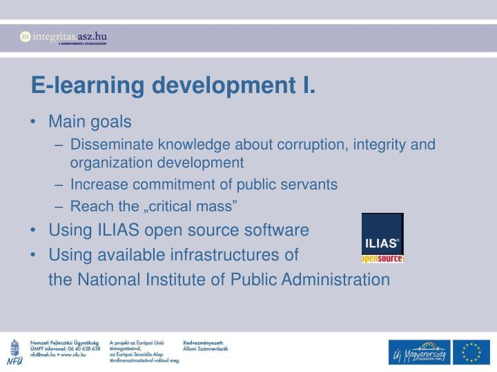 E-learning development I.