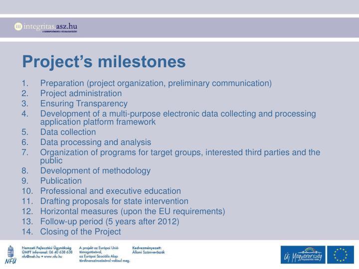 Project's milestones