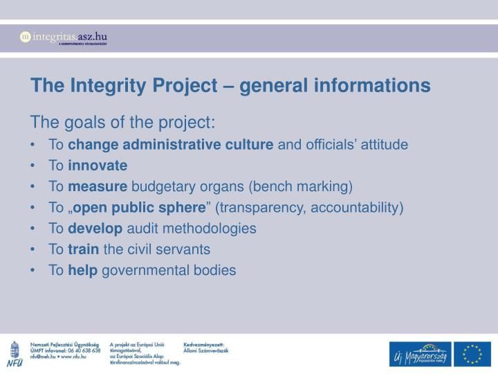 The Integrity Project – general informations