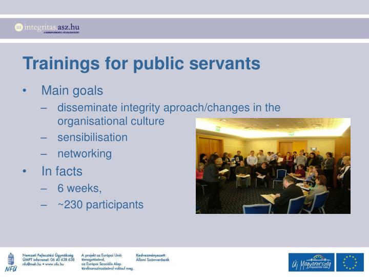 Trainings for public servants