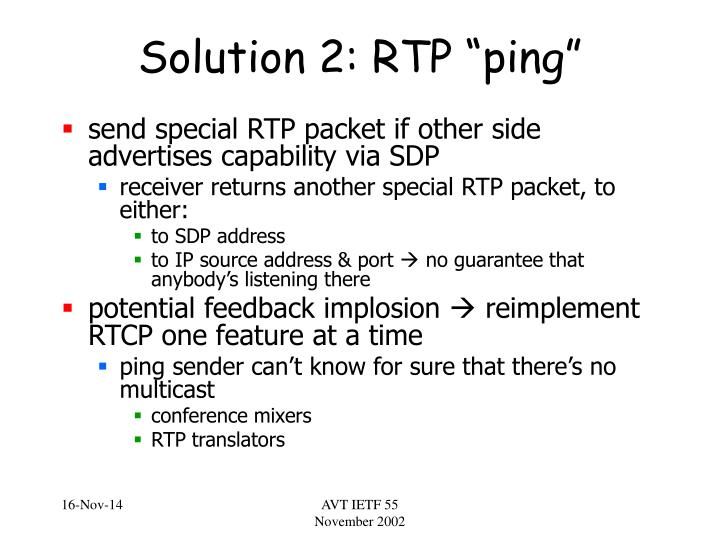 "Solution 2: RTP ""ping"""