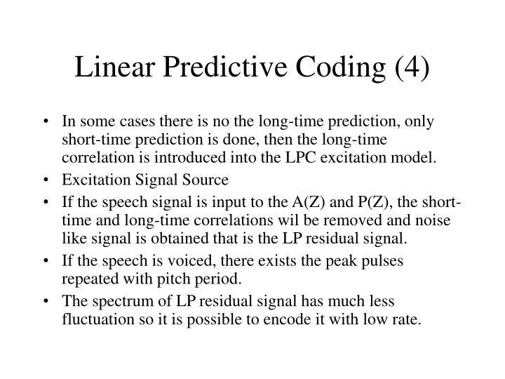 Linear Predictive Coding (4)