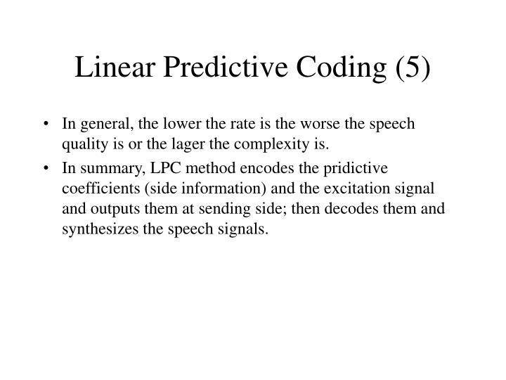 Linear Predictive Coding (5)