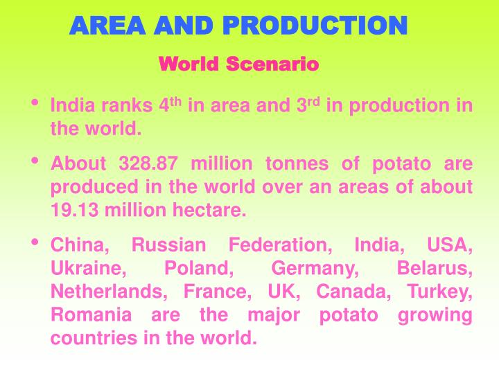 AREA AND PRODUCTION