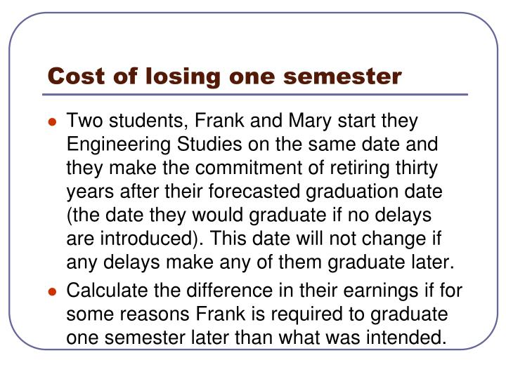 Cost of losing one semester