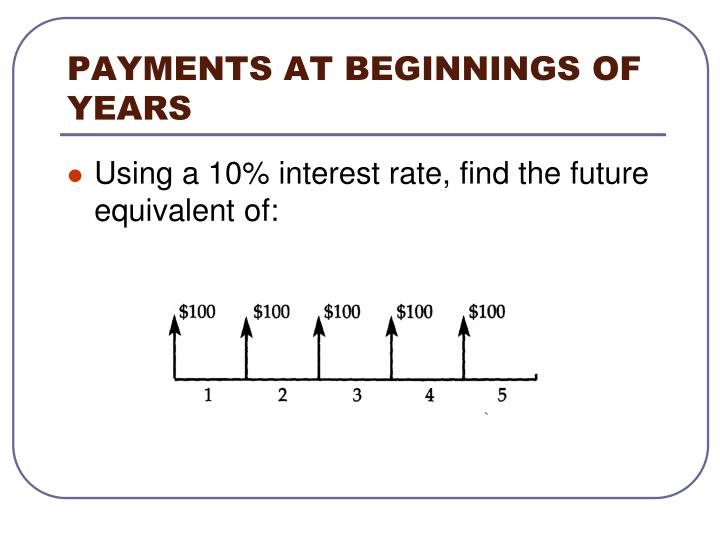 PAYMENTS AT BEGINNINGS OF YEARS