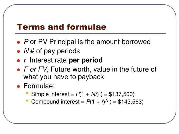 Terms and formulae