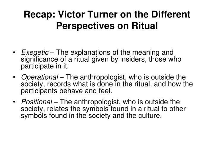 Recap: Victor Turner on the Different Perspectives on Ritual
