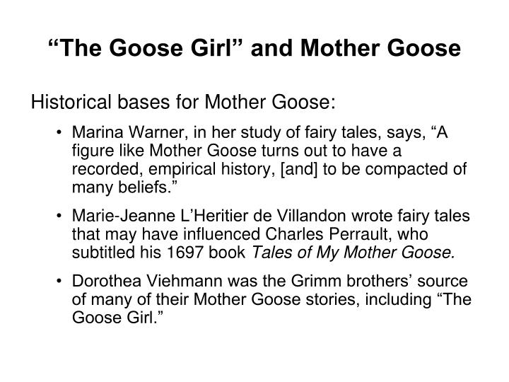 """""""The Goose Girl"""" and Mother Goose"""
