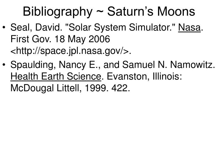 Bibliography ~ Saturn's Moons