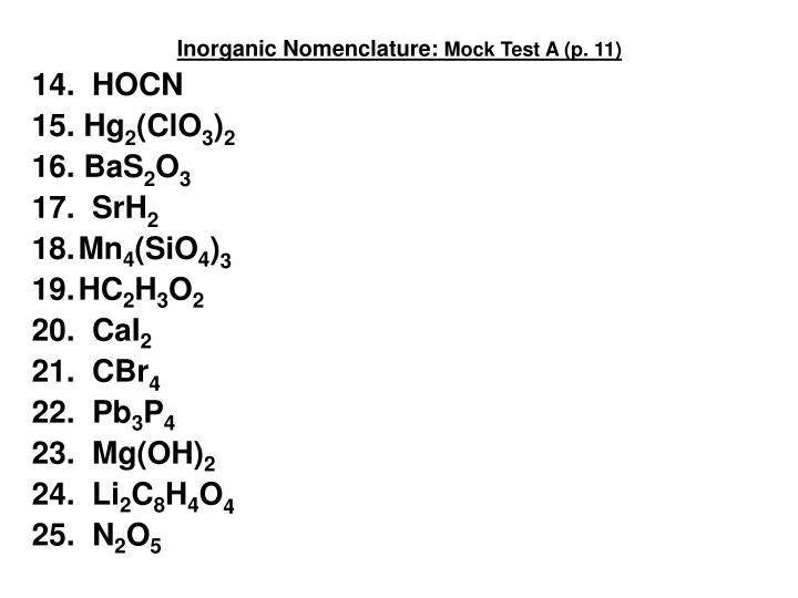 Inorganic Nomenclature: