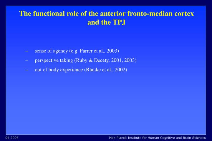 The functional role of the anterior fronto-median cortex and the TPJ