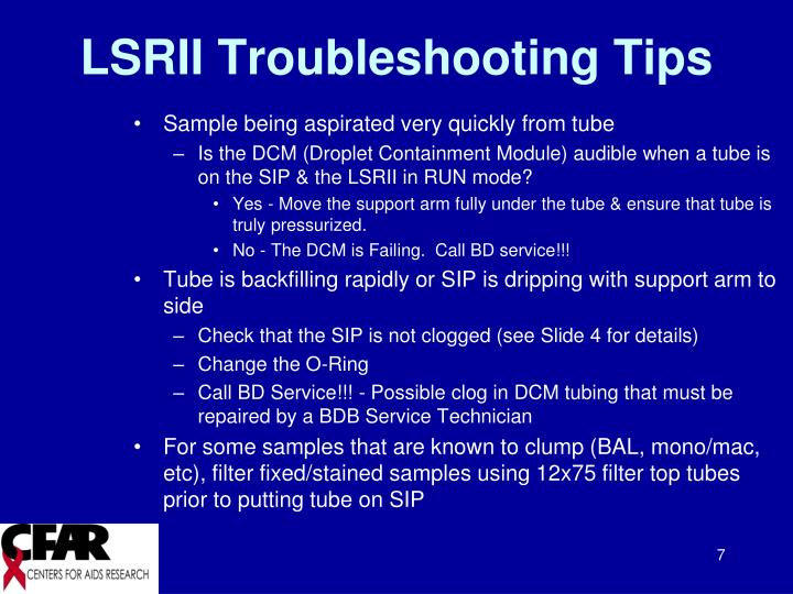 LSRII Troubleshooting Tips