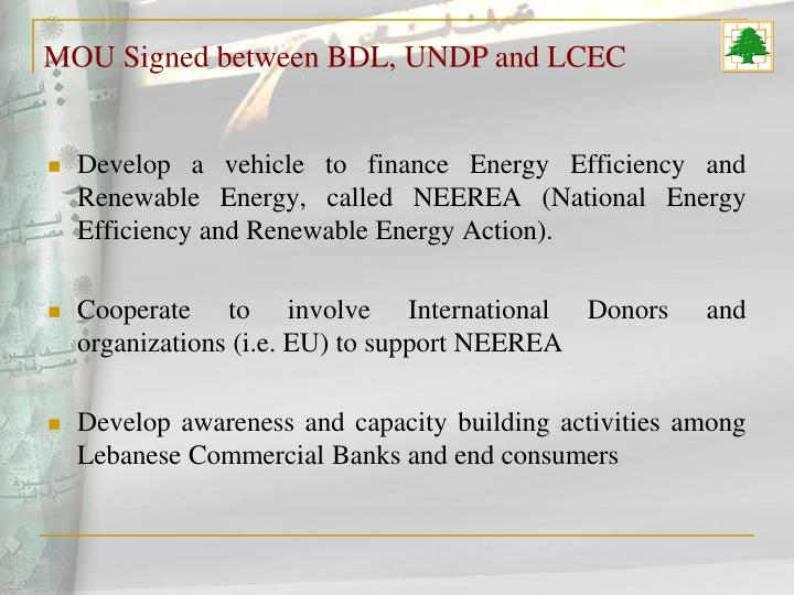 MOU Signed between BDL, UNDP and LCEC