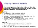 findings lexical decision