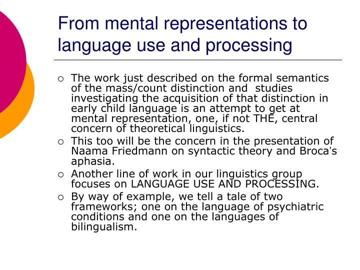 From mental representations to language use and processing