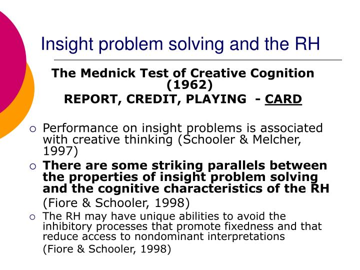Insight problem solving and the RH