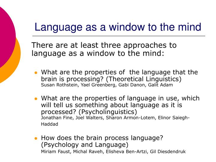 Language as a window to the mind