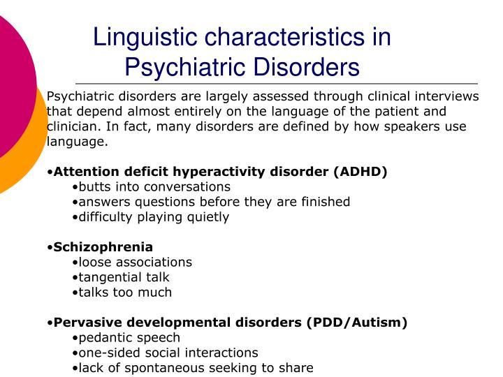 Linguistic characteristics in Psychiatric Disorders