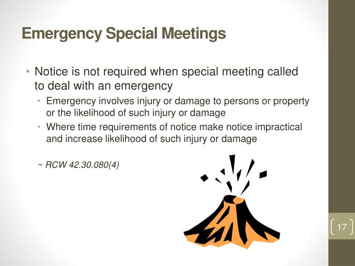 Emergency Special Meetings