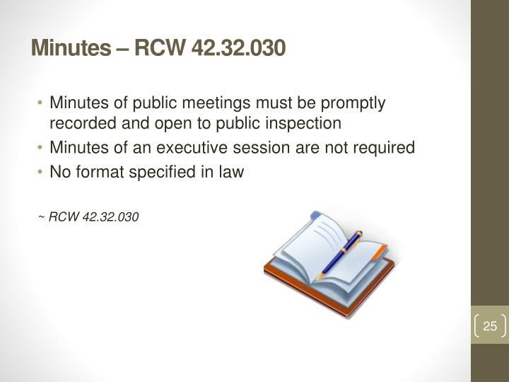 Minutes – RCW 42.32.030