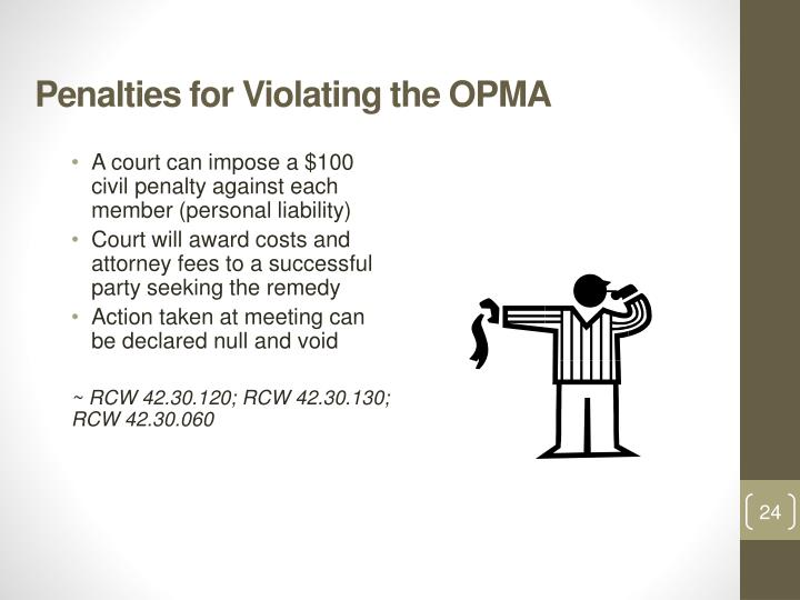 Penalties for Violating the OPMA