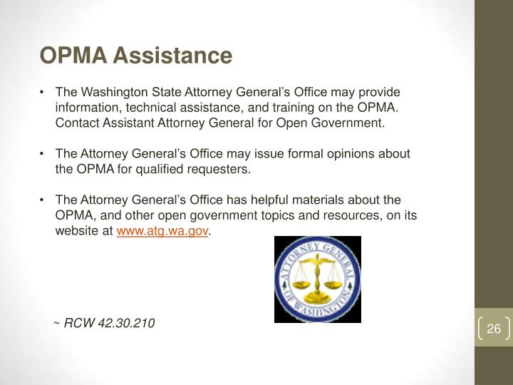 OPMA Assistance
