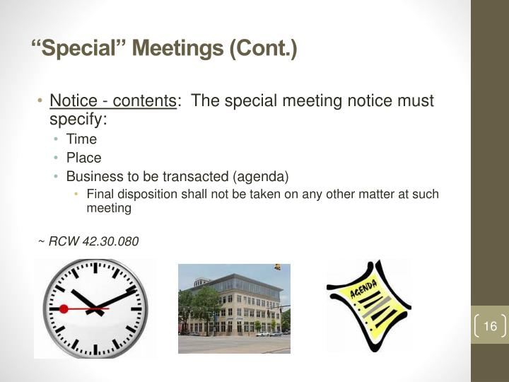 """Special"" Meetings (Cont.)"