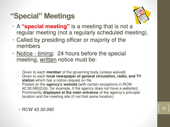 """Special"" Meetings"