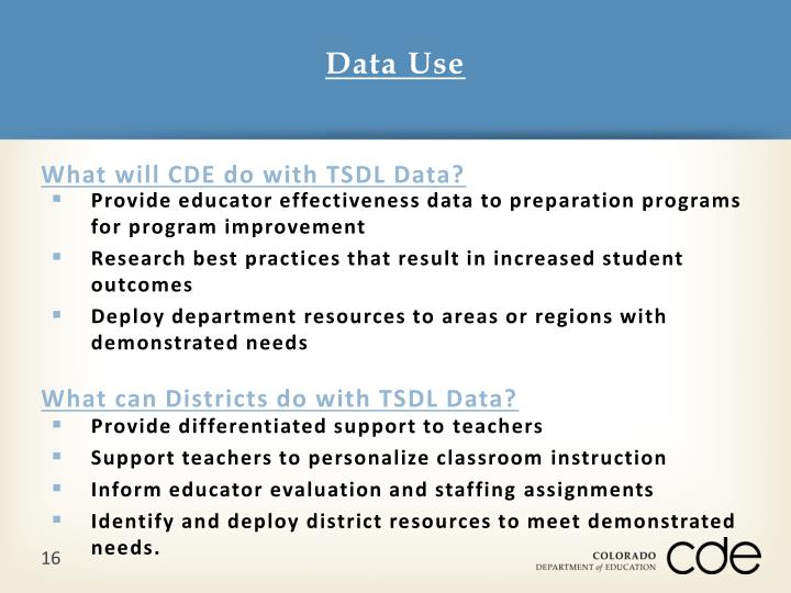 What will CDE do with TSDL Data?