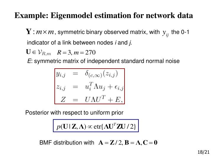 Example: Eigenmodel estimation for network data