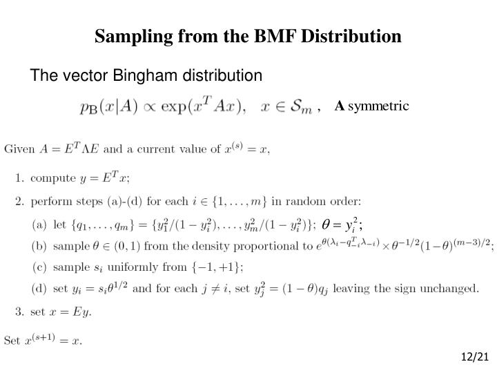 Sampling from the BMF Distribution