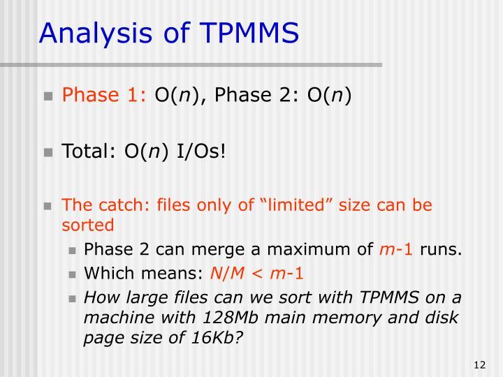 Analysis of TPMMS