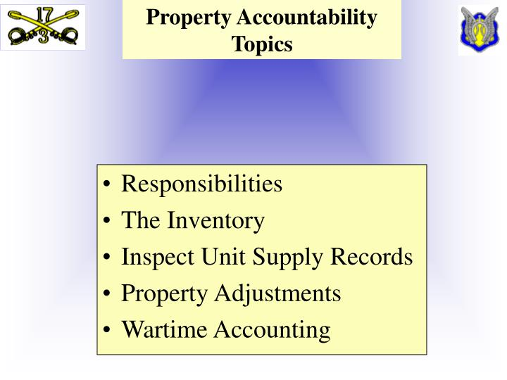Property accountability topics