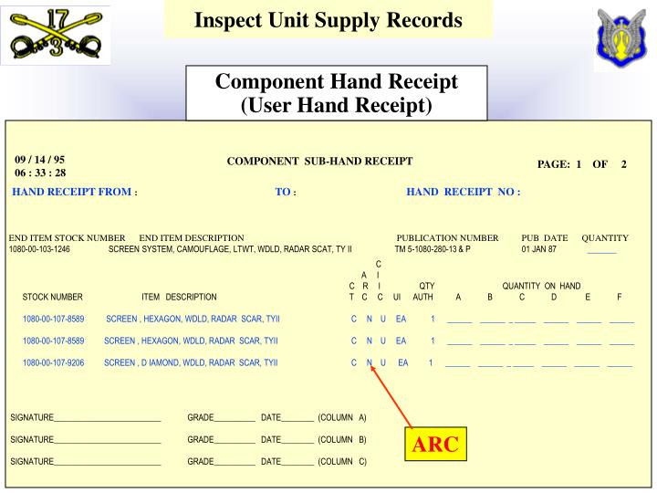Inspect Unit Supply Records